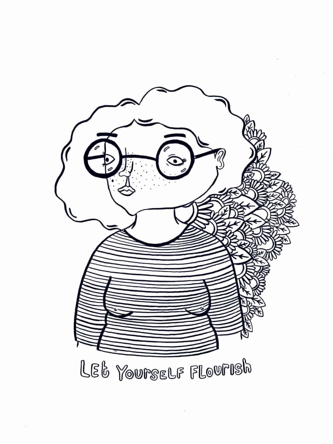Let Yourself Flourish Colouring by Robyn Ridley